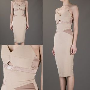Victoria Beckham Nude Cutout Bodycon Midi Dress S
